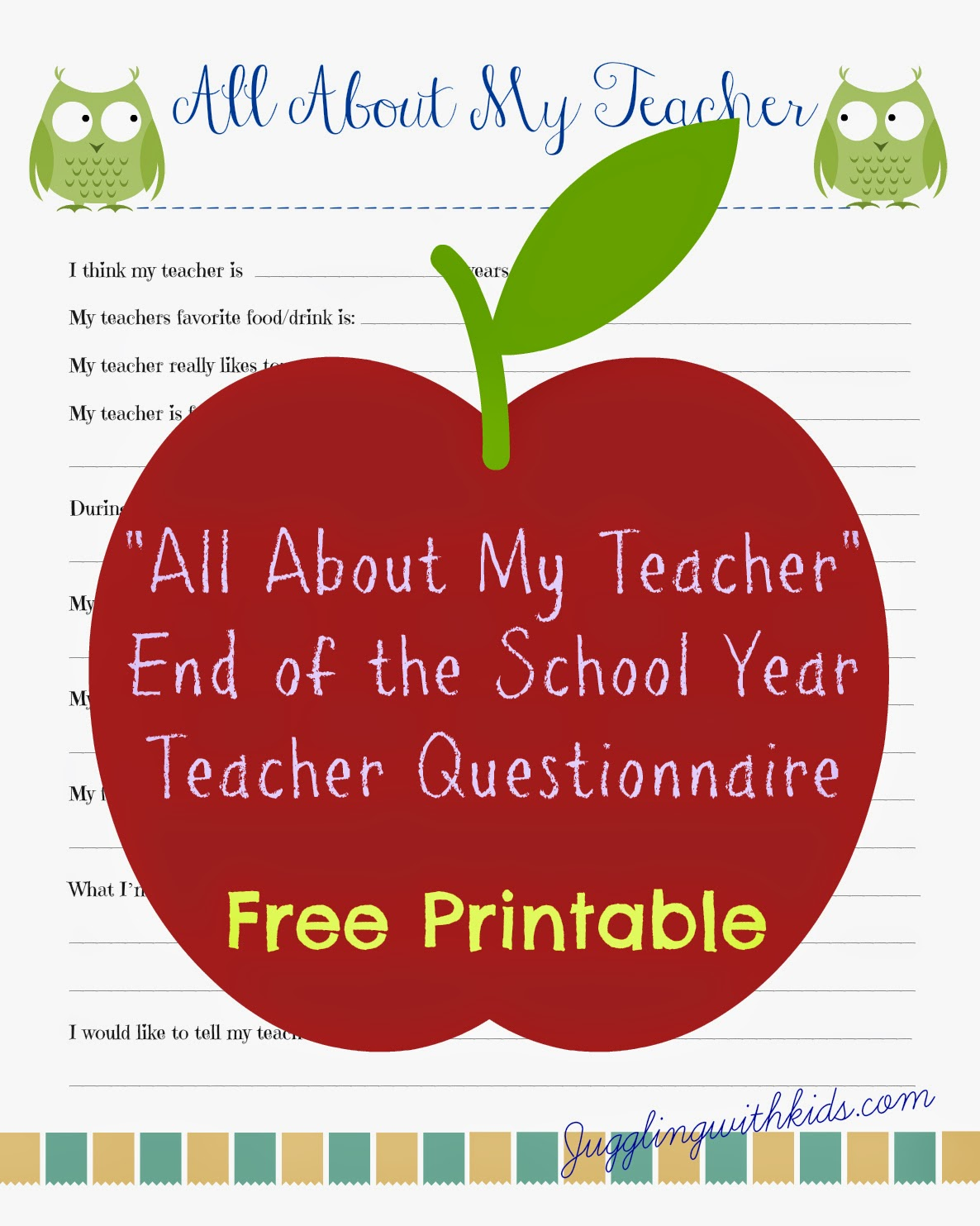 Free Teacher Printable Questionnaire for End of School Year ...